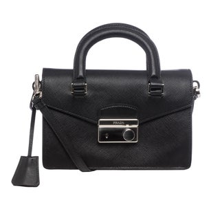 prada deep navy leather shoulder bag
