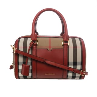 Burberry 'Sartorial' Medium Brown/ Red House Check Bowling Bag