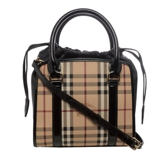 Burberry 'Dinton' Small Beige/ Black Haymarket Panels Tote