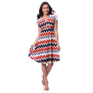 24/7 Comfort Apparel Women's Chevron Print Flutter Sleeve Knee-length Dress