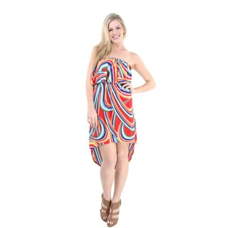 24/7 Comfort Apparel Women's Wave Print High-low Sleeveless Tube Dress