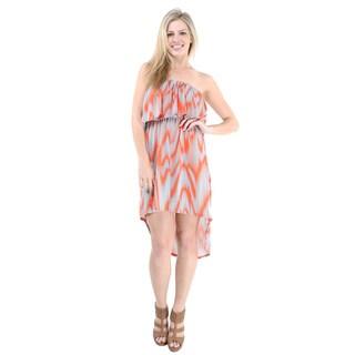 24/7 Comfort Apparel Women's Bleeding Waves High-low Sleeveless Tube Dress