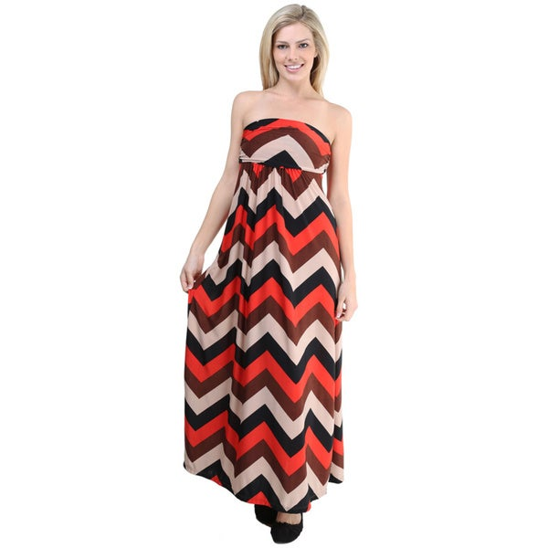 24/7 Comfort Apparel Women's Multi-color Printed Sleeveless Tube Maxi Dress