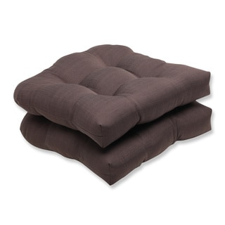 Pillow Perfect Outdoor Brown Wicker Seat Cushion (Set of 2)