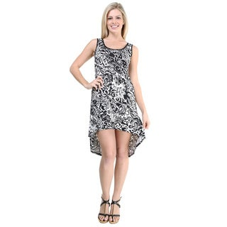 24/7 Comfort Apparel Women's Black/ White Printed Tank Dress