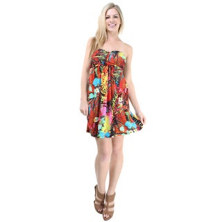 24/7 Comfort Apparel Women's Floral Print Sleeveless Tube Dress