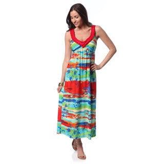 24/7 Comfort Apparel Women's Abstract Stripes Sleeveless Maxi Dress