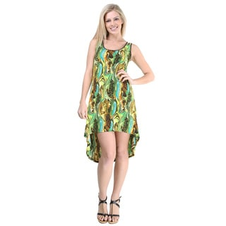 24/7 Comfort Apparel Women's Green/ Blue Abstract Waves Tank Dress