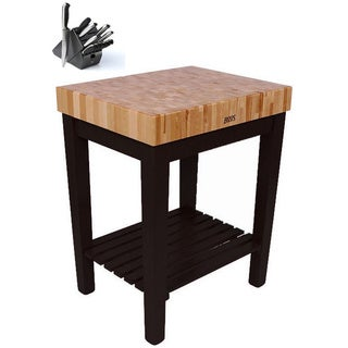 John Boos CU-CB3024S-BK Single-shelf Black Butcher Block Table (30x24 inch) with Henckels 13 Piece Knife Block Set