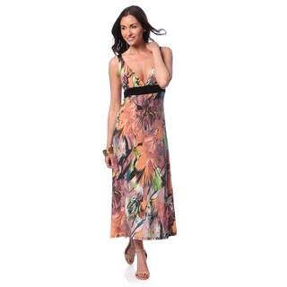 24/7 Comfort Apparel Women's Floral Print Maxi Tank Dress