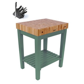 John Boos CU-CB3024S-BS Single-shelf Basil Butcher Block 30x24 inch Table with Henckels 13 Piece Knife Block Set