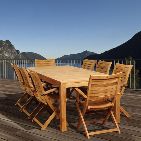 Amazonia Teak Juliette 9-piece Teak Folding Chair Outdoor Dining Set