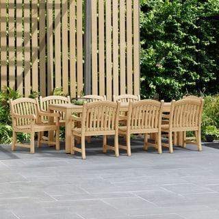 Amazonia Teak Lola 9-piece Teak Arm Chair Outdoor Dining Set