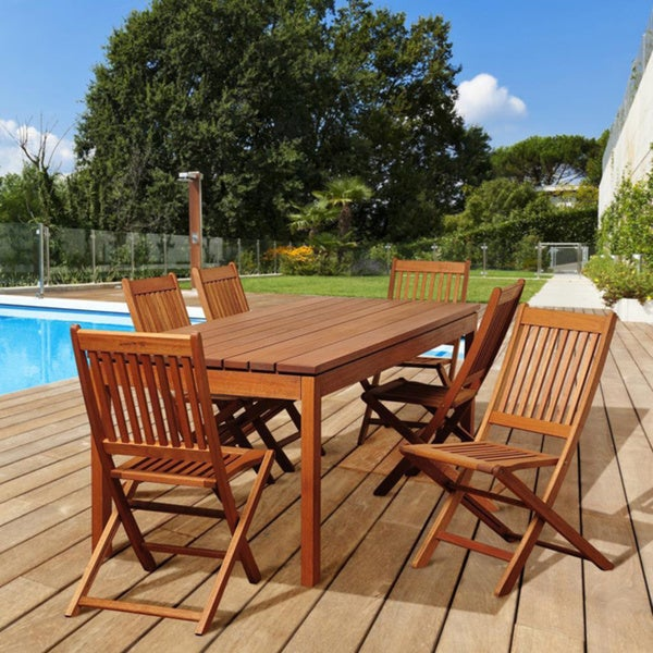 Amazonia Tracy 7-piece Eucalyptus Folding Chair Outdoor Dining Set