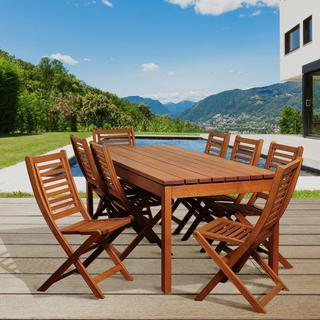 Victoria 9-piece Eucalyptus Folding Chair Outdoor Dining Set
