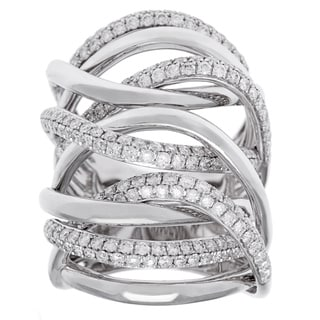 18k White Gold 2 1/4ct TDW Diamond Multi-row Crossover Ring (G-H, SI2-I1)