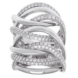 18k White Gold 2 1/4ct TDW Diamond Multi-row Crossover Ring (G-H, SI2-I1)