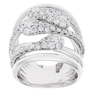 18k White Gold 2ct TDW Diamond Crossover Ring (G-H, SI2-I1)