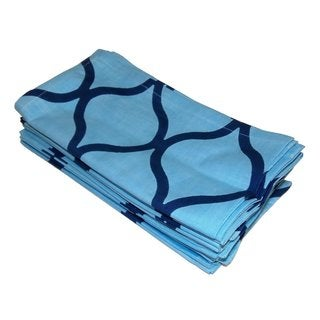 Celebration Blue Tile Printed Dinner Napkins (Set of 12)