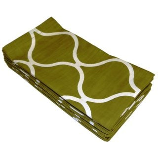 Celebration Olive Tile Printed Dinner Napkins (Set of 12)