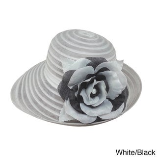 Swan Hat Women's Organza Packable Bucket Hat with Floral Applique