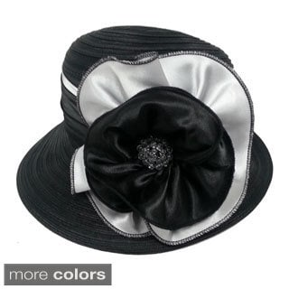 Swan Hat Women's Woven Ribbon Crushable Hat with Satin Bow