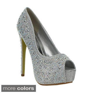 Lasonia Women's Rhinestone Studded Glitter Peep-toe Pumps