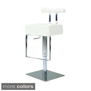 Vinyl Upholstered Brushed Stainless Steel Adjustable-height Swivel Stool