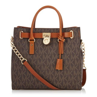 Michael Kors Hamilton Large Logo NS Tote - Brown PVC
