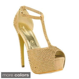 Lasonia Women's Rhinestone Studded T-strap Peep-toe Pumps