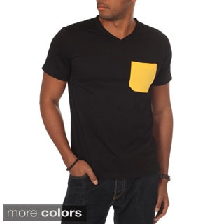 Oxymoron Men's Contrast Pocket Solid V-neck Tee