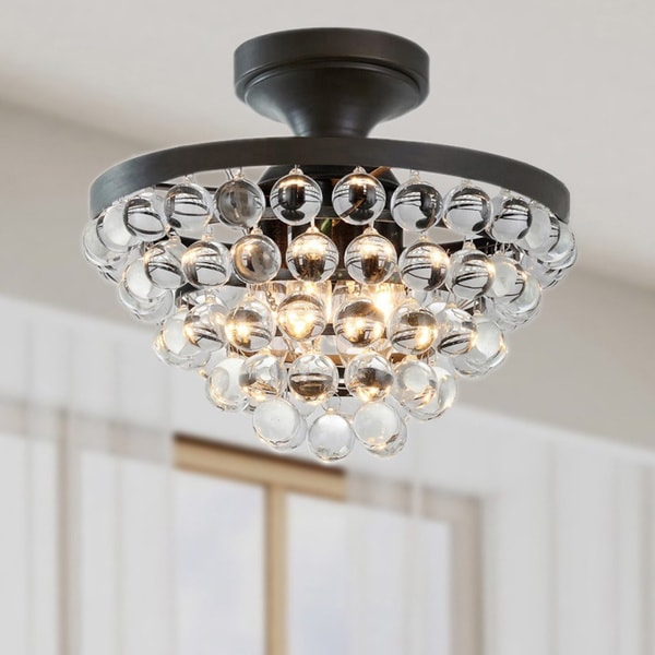 Vanessa 4-light Black/ Crystal Flush Mount