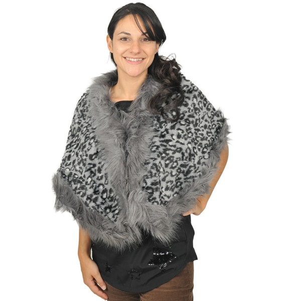 J. Furmani Cape in Animal Print Design with Faux Fur Trimming