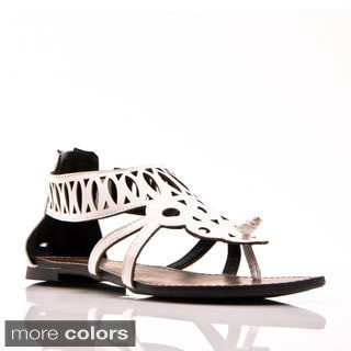 Gomax Berdine-41 Women's Laser Cut Flat Thong Sandals