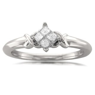 10k White Gold 1/5ct TDW Princess-cut Quad Diamond Promise Ring (H-I, I2)