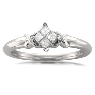 10k White Gold 1/5ct TDW Princess-cut Quad Diamond Promise Ring (H-I, I2)