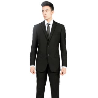 Zonettie by Ferrecci Men's Custom Slim Fit Black 2-piece Suit