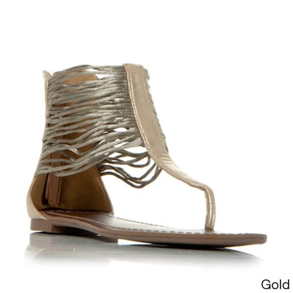 Gomax Berdine-78 Women's Ankle Wrap Thong Sandals