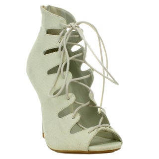 Wild Diva 'Jenson-45A' Women's Lace-up Corset Cut-out Heels