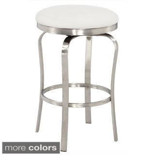 Somette Modern Backless Upholstered Stainless Steel Counter Stool
