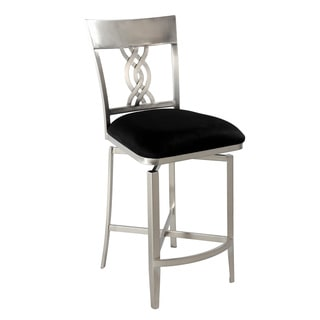 Somette Black Swirl-back Memory Swivel Counter Stool