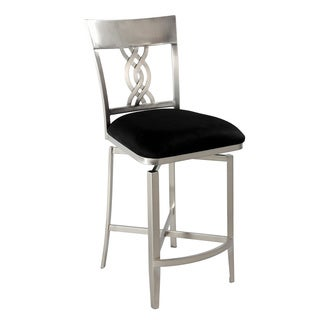 Somette 26-inch Black Nickel-plated Swirl-back Memory Swivel Counter Stool