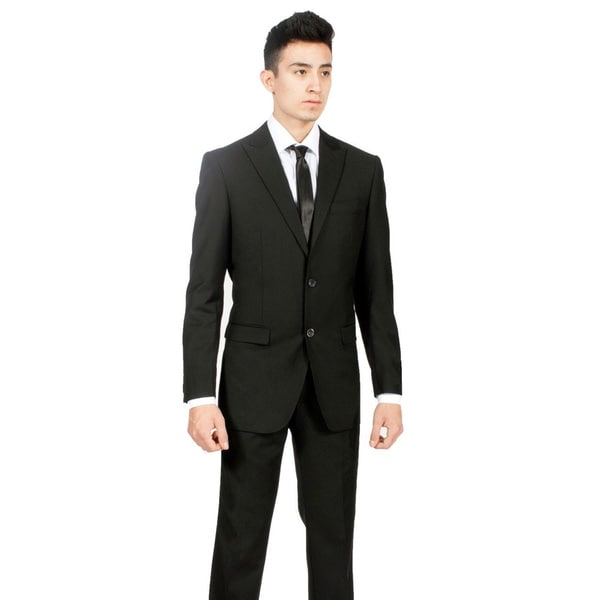 Ferrecci Men's Custom Slim Fit Black 2-piece Peak Lapel Suit