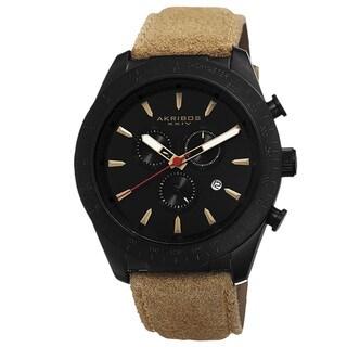 Akribos XXIV Men's Swiss Quartz Chronograph Leather-Suede Strap Watch