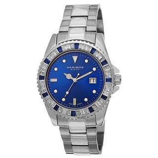 Akribos XXIV Men's Swiss Quartz Crystal Bezel Stainless Steel Bracelet Watch