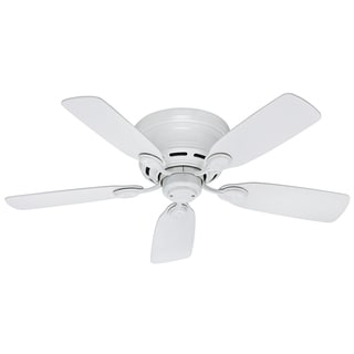 Hunter Low-Profile 42-inch Ceiling Fan with White Finish and 5 White Blades