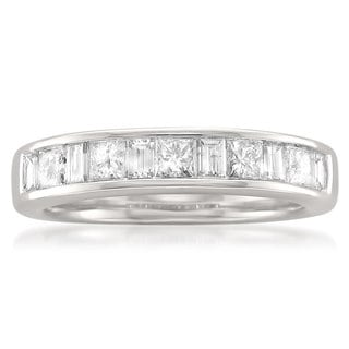 14k White Gold 1ct TDW Princess and Baguette Channel Wedding Band (G-H, SI1)
