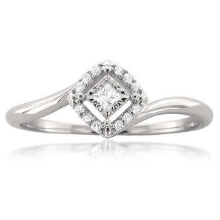10k White Gold 1/8ct TDW Princess-cut Halo Promise Ring (H-I, I1-I2)