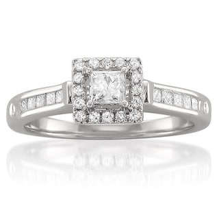 14k White Gold 1/2ct TDW Princess-cut Diamond Halo Engagement Ring (H-I, I1-I2)