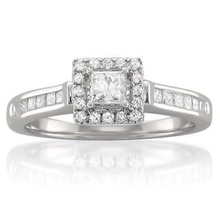 14k White Gold 1/2ct TDW Princess-cut Diamond Halo Engagement Ring (H-I, I1-I2)